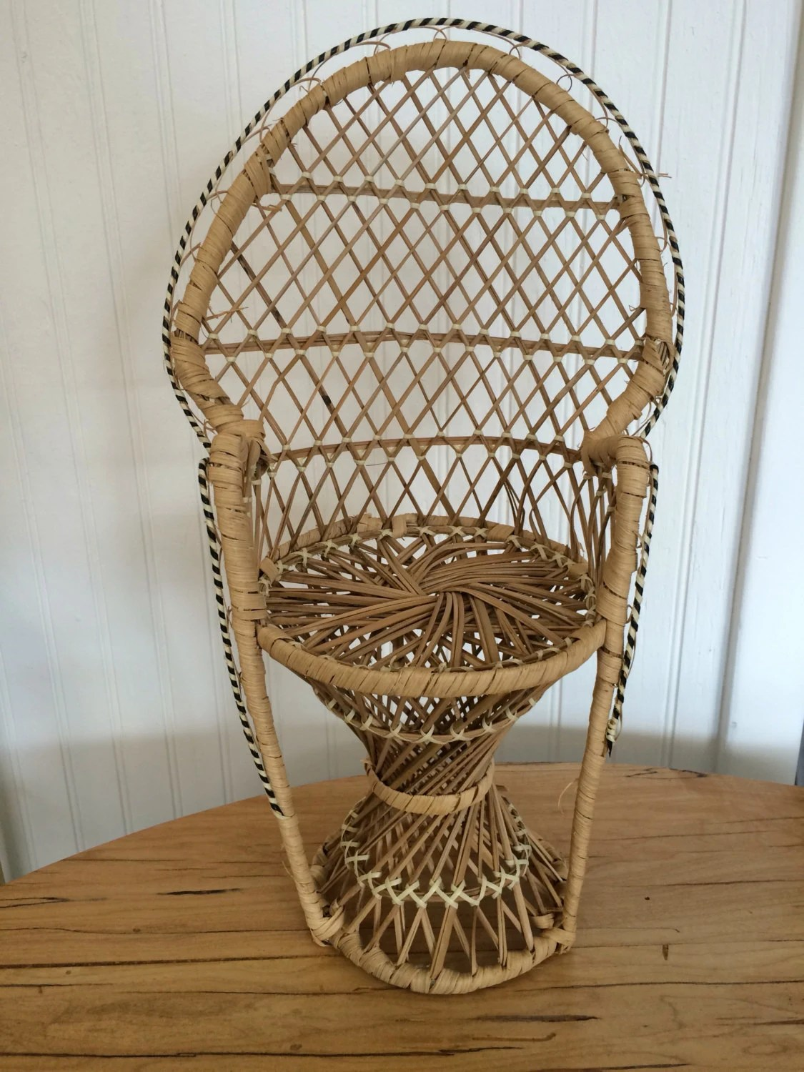 rattan peacock chair target leather chairs mini etsy
