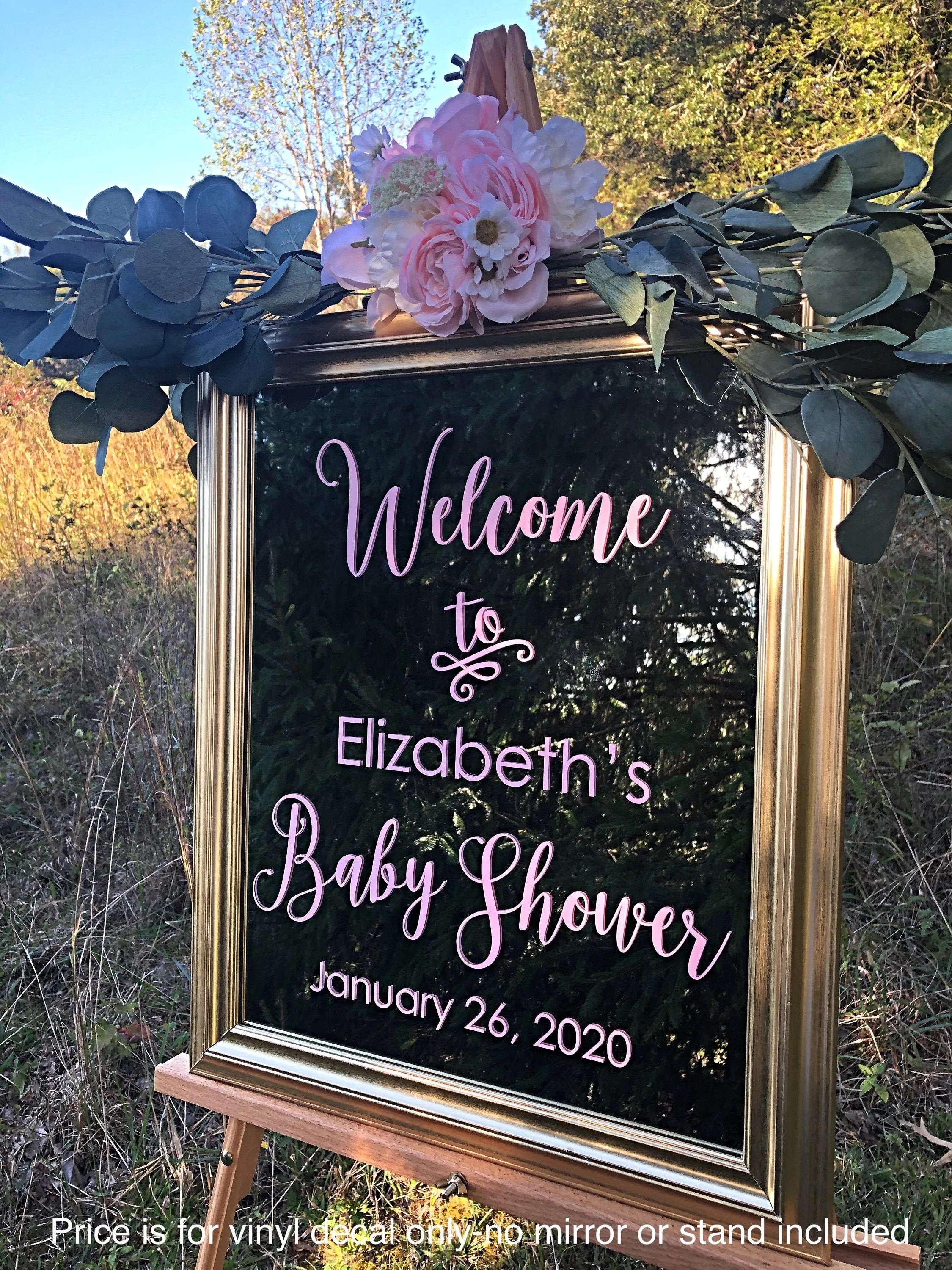 Baby Shower Welcome Stand : shower, welcome, stand, Shower, Decal, Welcome, Mirror, Chalkboard, Decor, Personalized, Vinyl