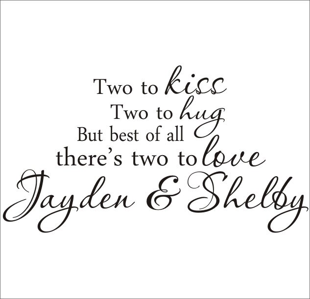 Twins Vinyl Wall Decal Large Nursery Bedroom Two to Kiss