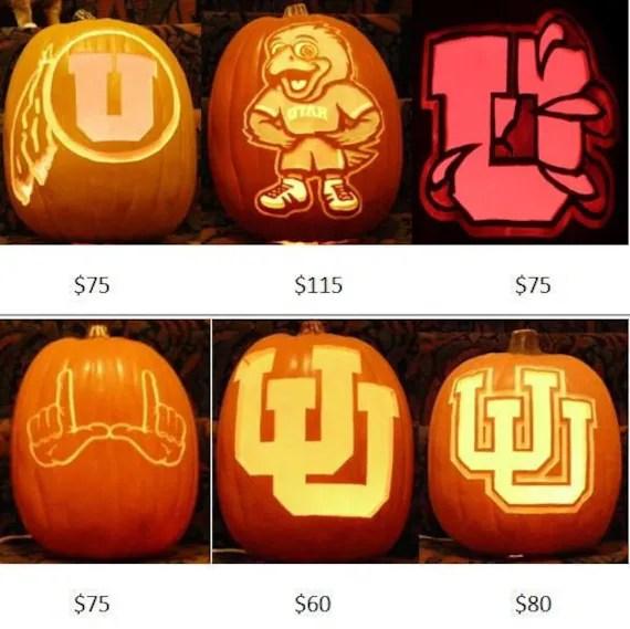 Licensed University Of Utah Hand Carved Craft Pumpkins Prices Etsy