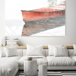Red Wood Boat Rustic Boat Art Beach Decor Coastal Wall