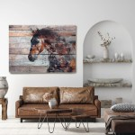 Farmhouse Horse Art Western Horse Canvas Print Fire Horse Large Horse Painting Print Unique Horse Wall Decor Brown Rustic Horse Artwork