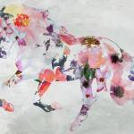 Pink Boho Floral Horse 2 Boho Mixed Media Horse Painting Canvas Print Boho Floral Horse Art Large Canvas Painted Horse Boho Wall Art