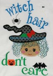witch hair dont care embroidery
