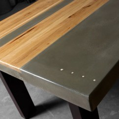 Steel Kitchen Table Sinks With Drainboard Built In Concrete Wood Dining Etsy Image 0