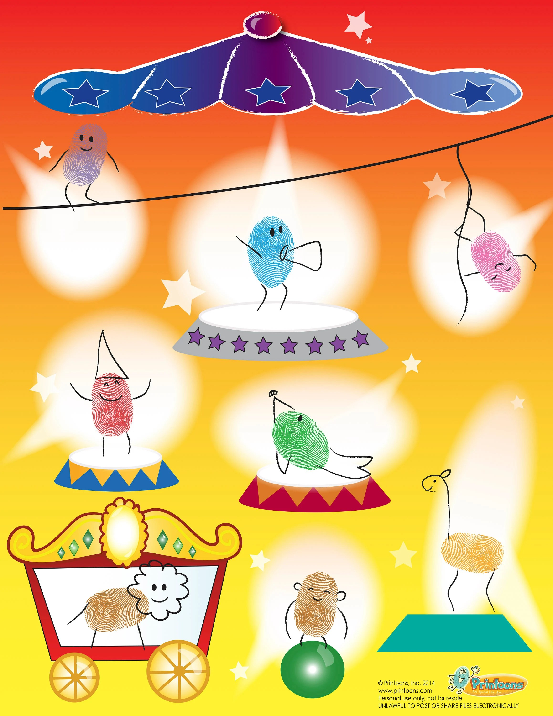 Circus Learning Thumbprint Art Alphabet Amp Numbers