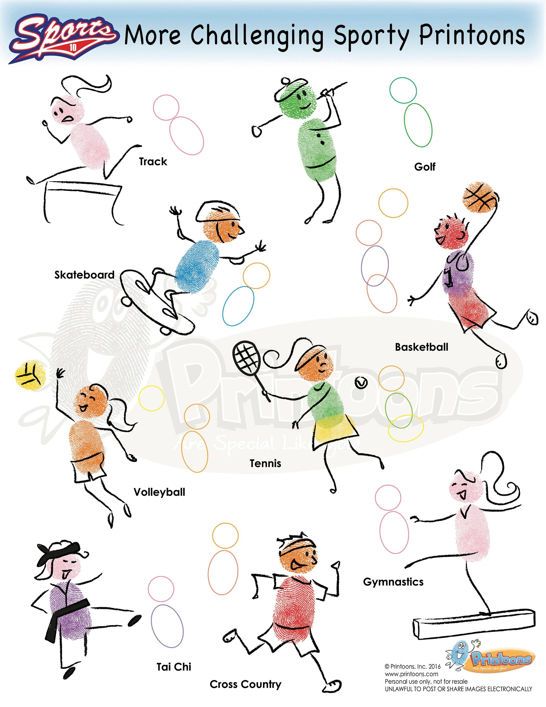Sports Trading Cards Fingerprint Art Sports Worksheets