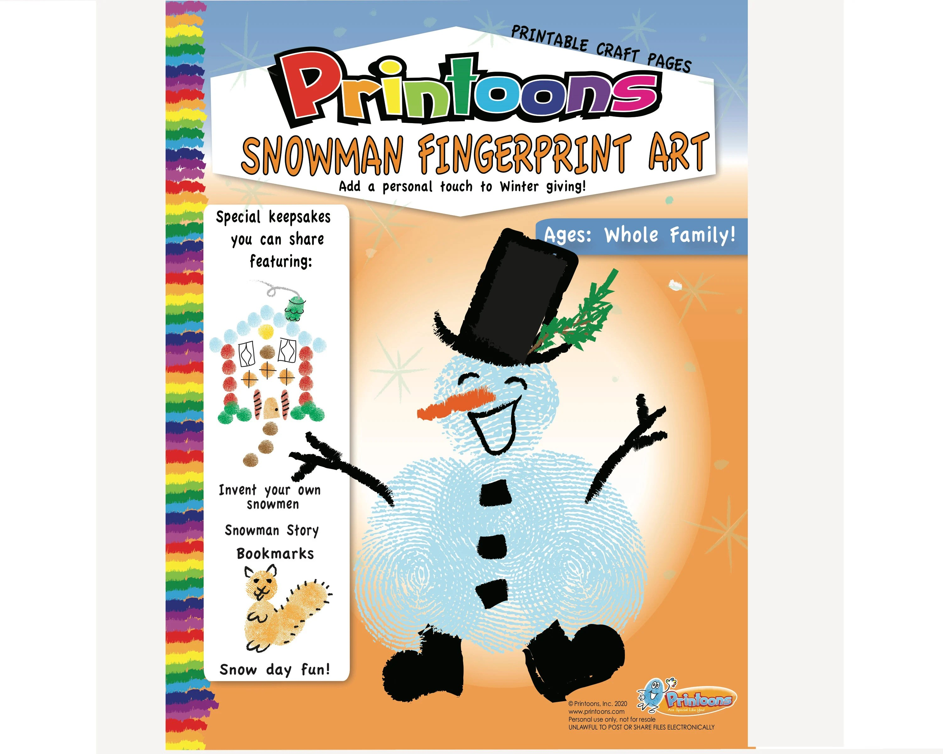Snowman Story Amp Crafts Fingerprint Art Snowman Diy