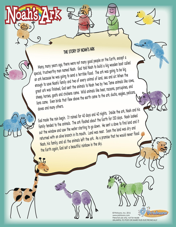 Noahs Ark Fingerprint Art Story Bible Story Worksheets