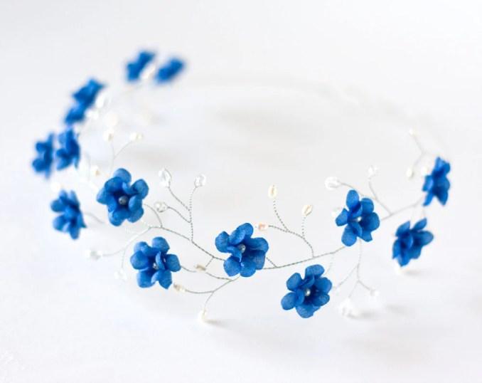 51 tiara blue wedding hair accessory floral tiara bridal