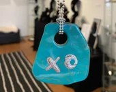 Turquoise Silver Leaf XO Pendant on Sterling Bead Chain