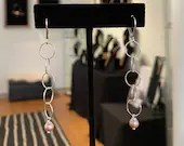 Ring Earrings with Pink Freshwater Pearls