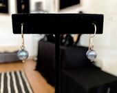 Simple Blue Pearl Earrings