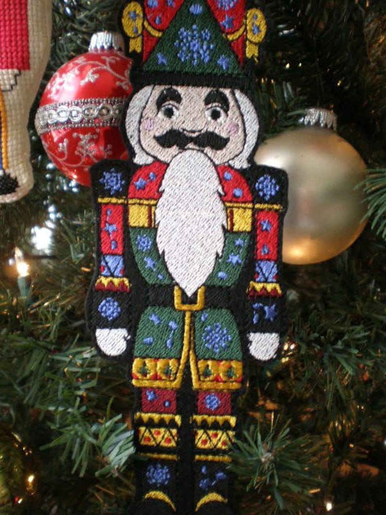 Large 10 Inch Embroidered Christmas Nutcracker Tree Ornament Etsy