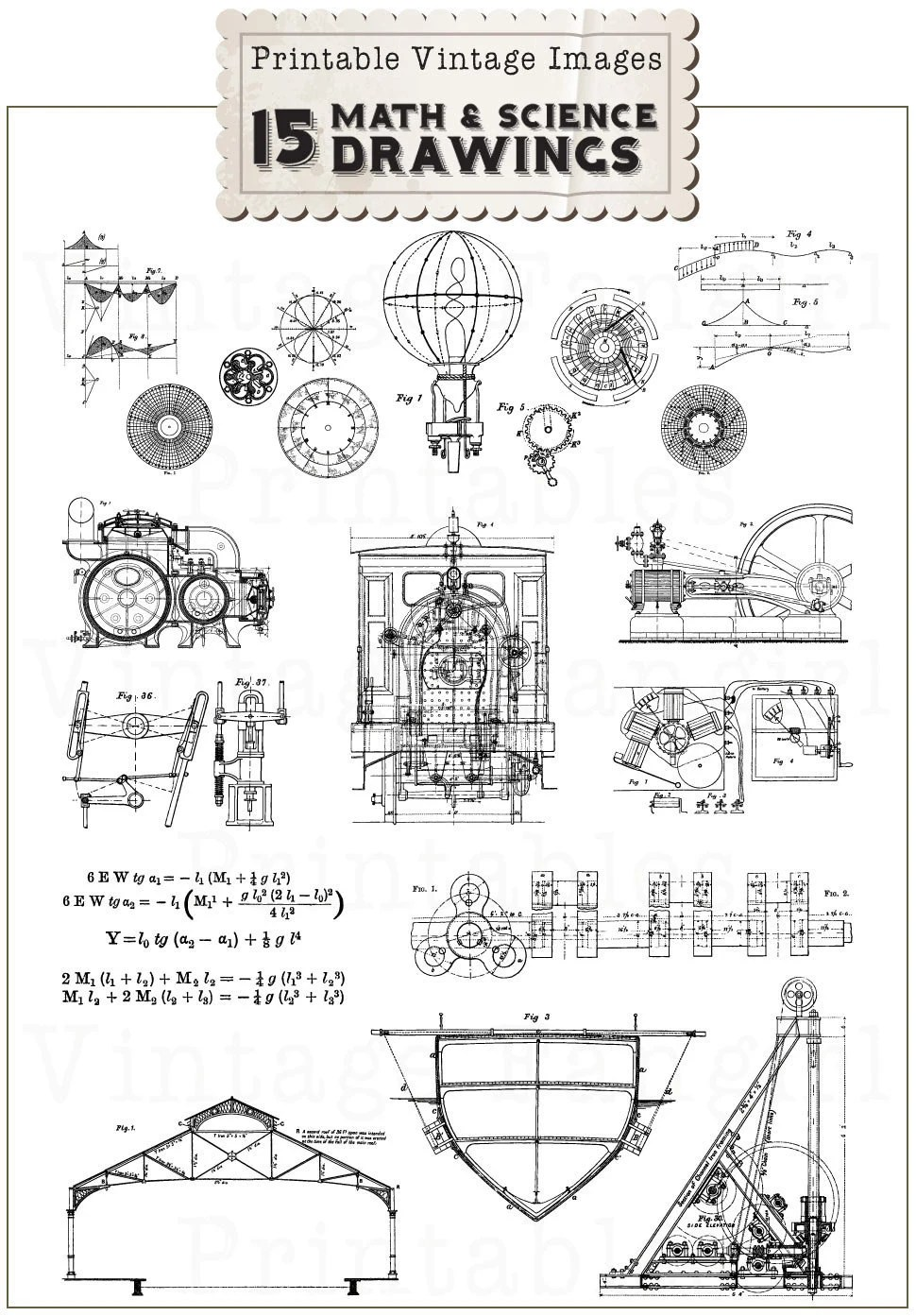 NEW 15 Vintage Science & Math Drawings Clip Art Collection