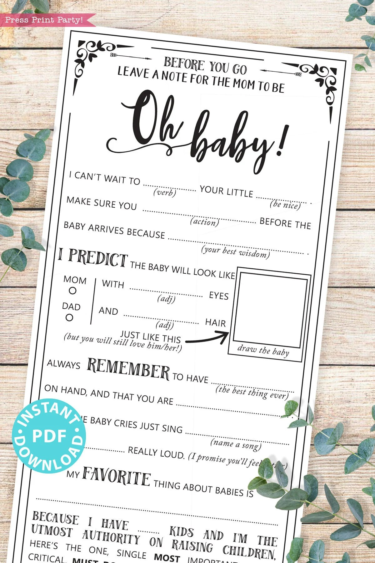 You Re The One Oh Baby : Advice, Shower, Printable, Game,, Funny, Libs,, Baby,, Guestbook, Wishes, Predictions,, INSTANT, DOWNLOAD, Press, Print, Party!, Catch, Party