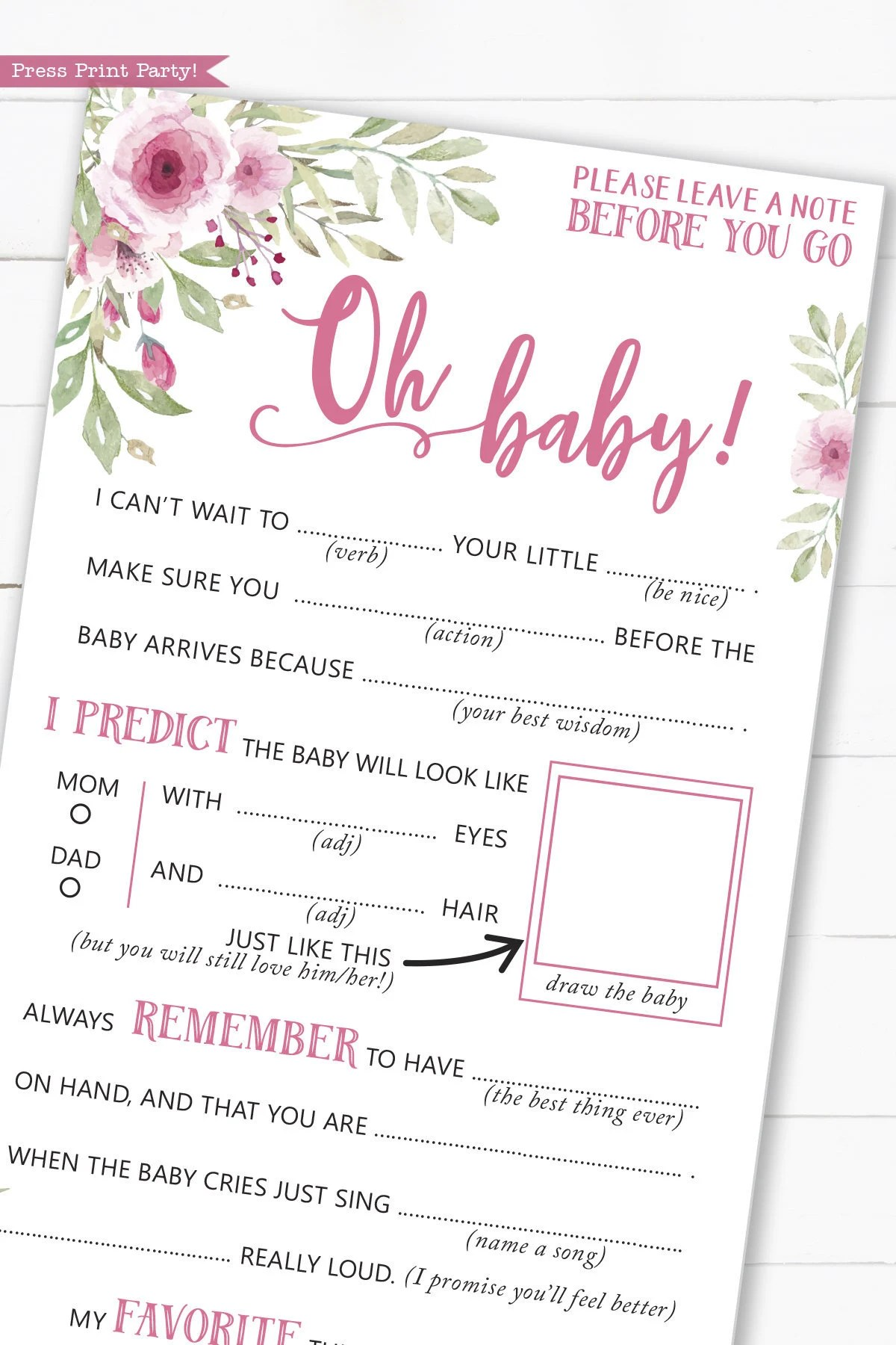 Baby Shower Advice Cards : shower, advice, cards, Advice, Shower, Printable, Game,, Funny, Libs,, Flowers,, Girls,, Guestbook, Wishes, Baby,, INSTANT, DOWNLOAD, Press, Print, Party!, Catch, Party