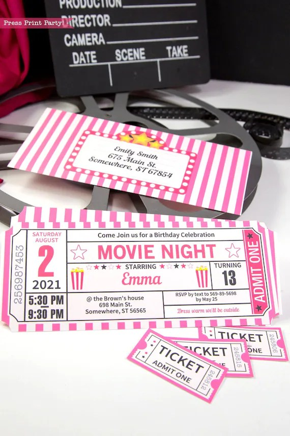 movie night invitation printables pink