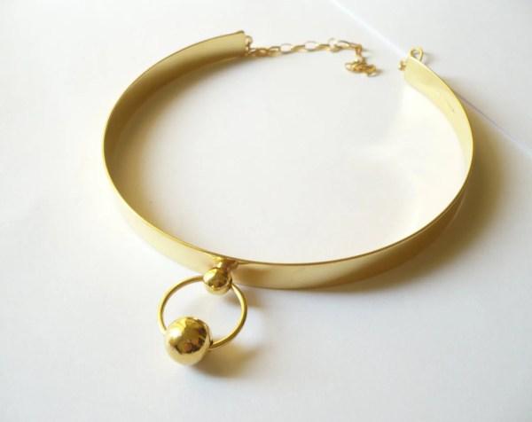 Handmade Sterling Silver Slave Collar Gold Plating