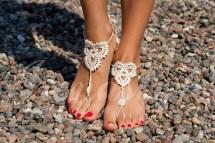 Beach Wedding White Crochet Barefoot Sandals Nude
