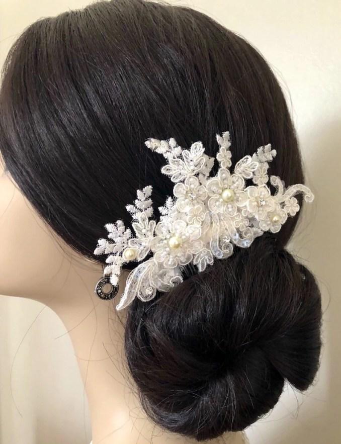 wedding comb/bridal comb/decorative comb/lace comb/bridal hair  accessories/wedding comb/beaded lace comb/pearl bridal comb/rhinestone comb