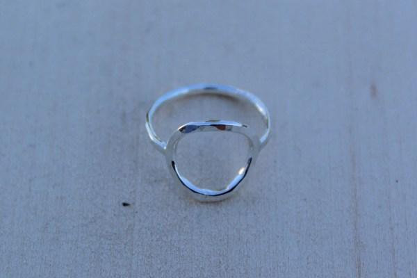 Silver Karma Ring Sterling Circle Hammered