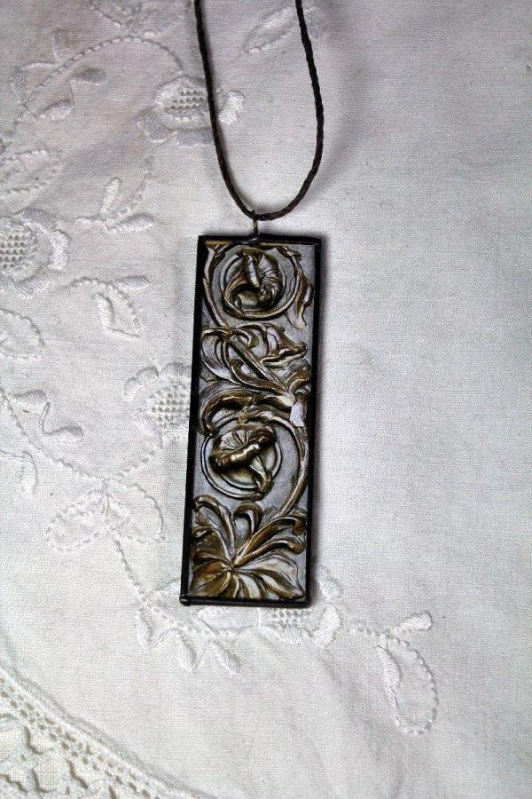 Steampunk Art Nouveau Necklace Double Sided Architectural
