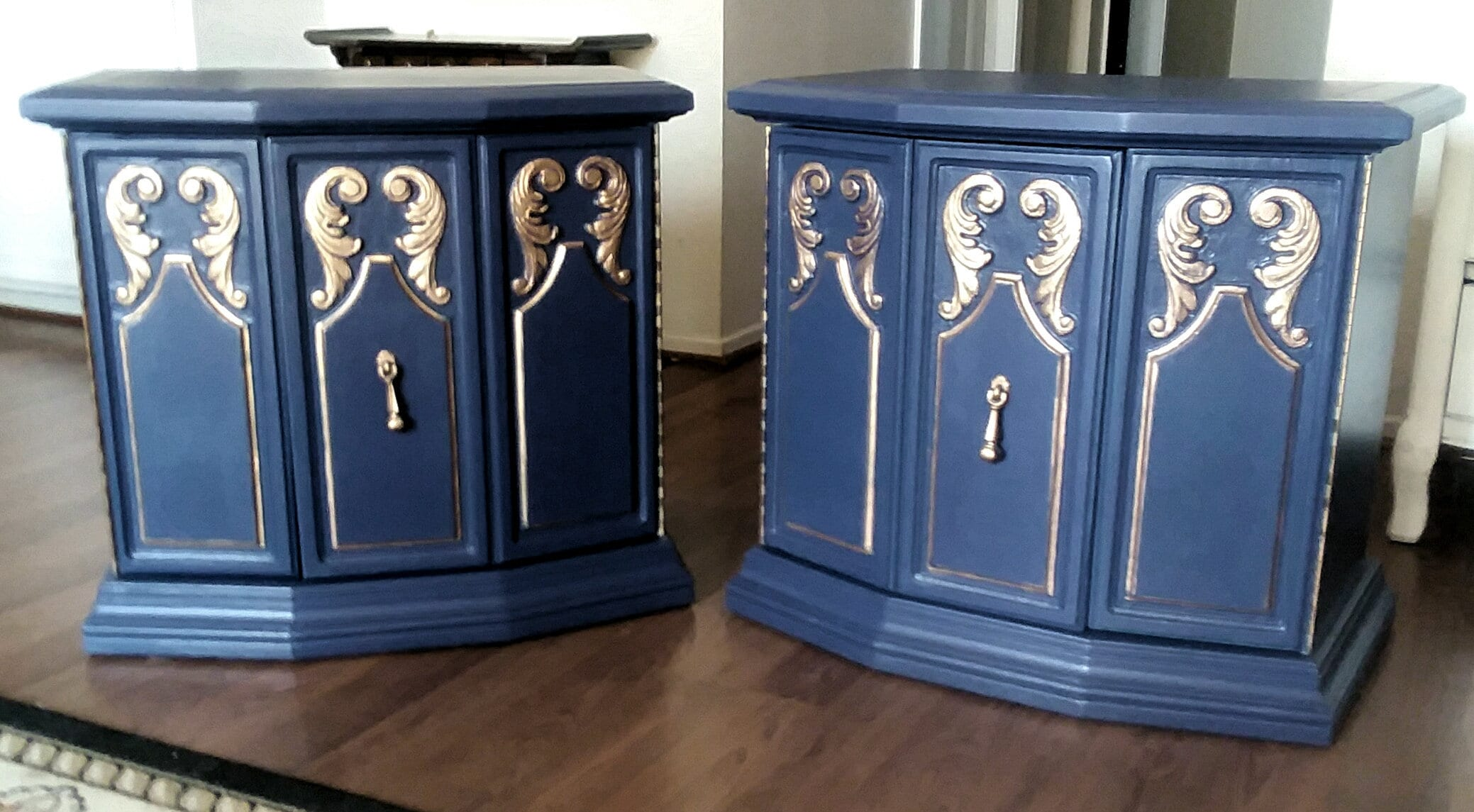 Pair Of Navy Blue Bohemian End Tables Nightstands French Hollywood Regency
