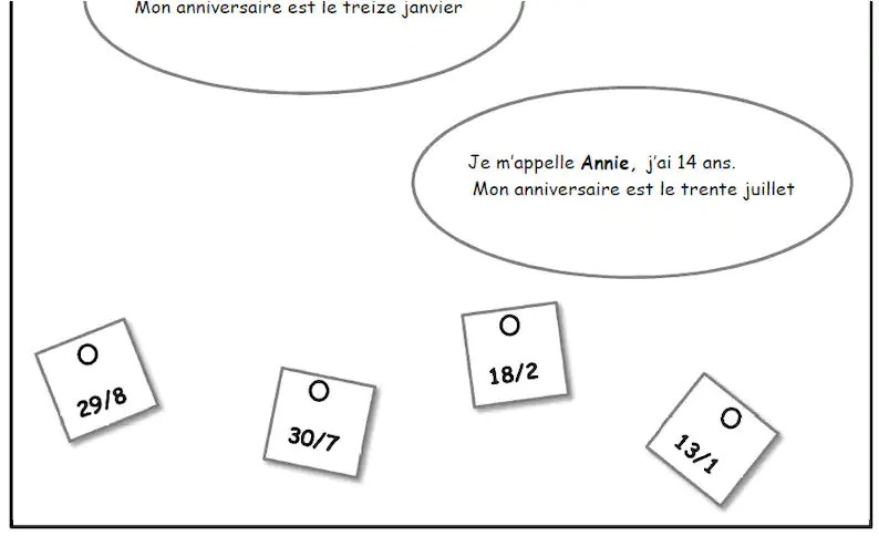 SCHOOL WORKSHEET to learn Birthday dates in FRENCH