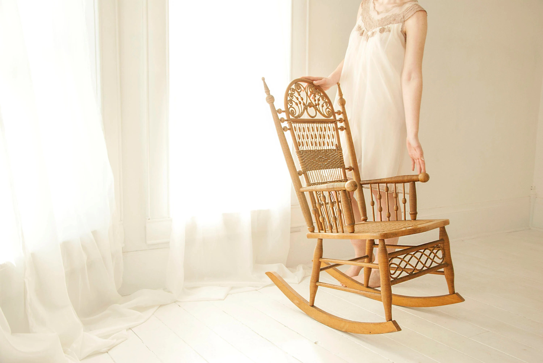 vintage wicker rocking chair zero gravity recliner antique victorian rocker rattan etsy image 0