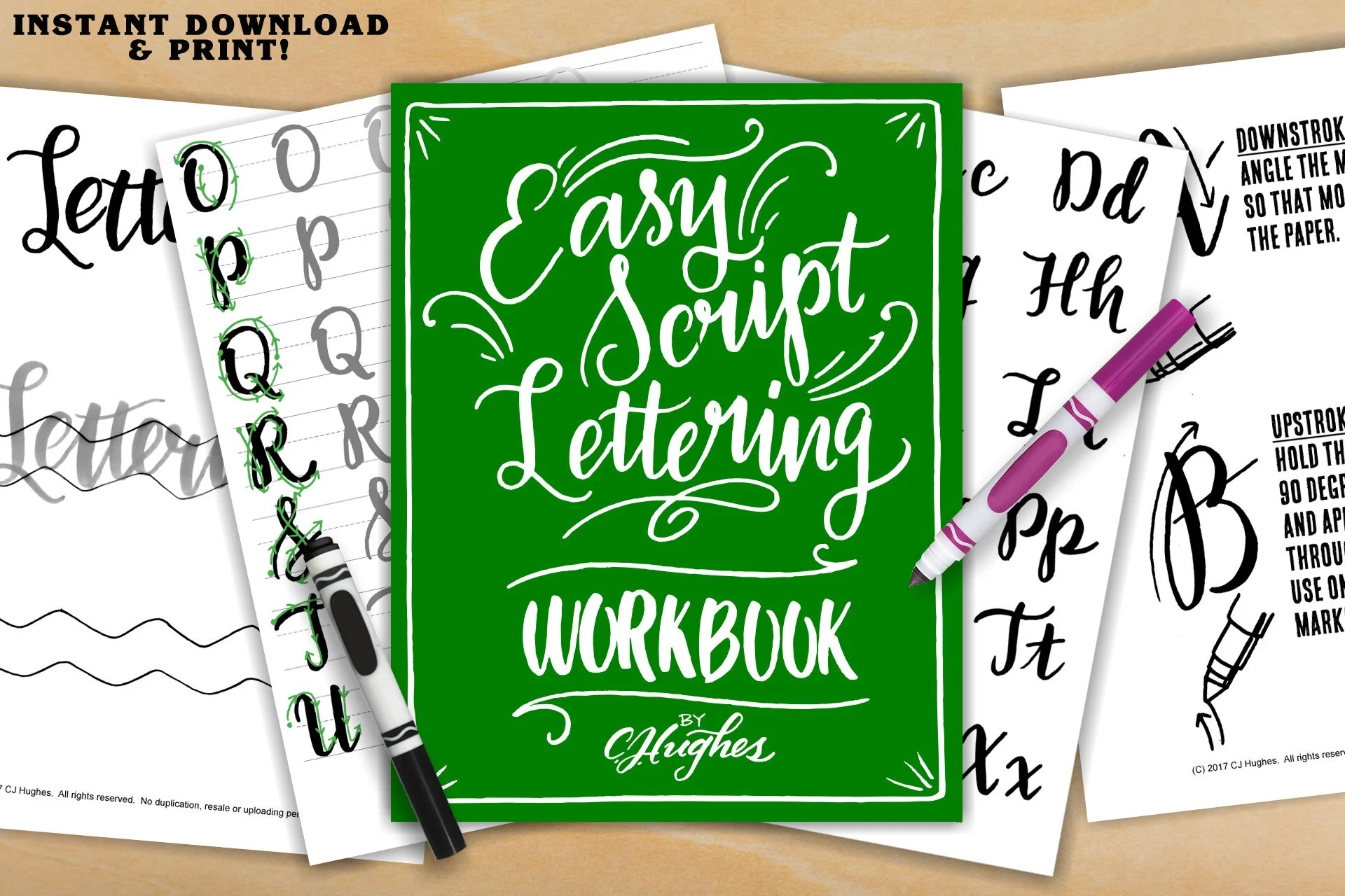 Easy Script Lettering Workbook Learn Freehand Script
