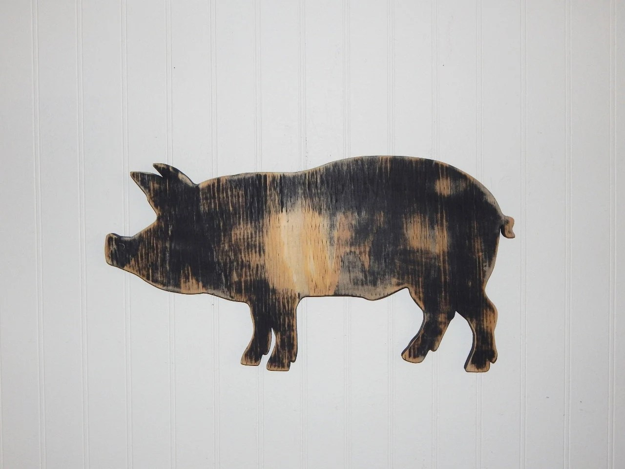 pig kitchen ceramic tile for sign wall decor farmhouse country wooden etsy