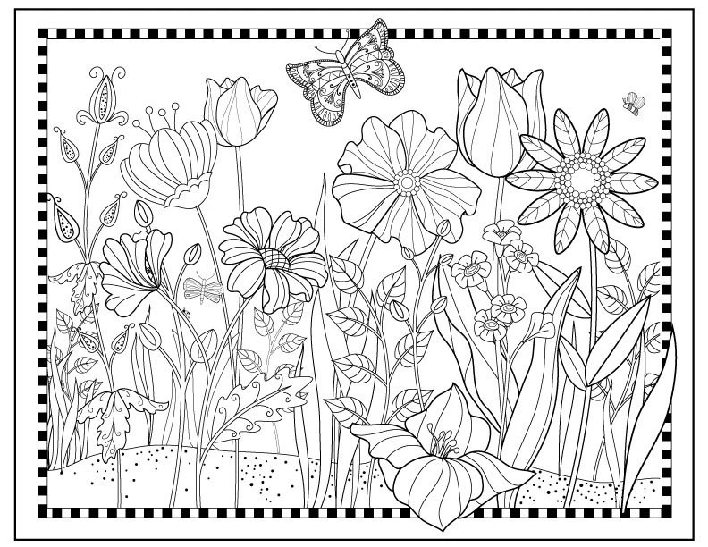 Printable Flower Garden Coloring page,Flowers to Color