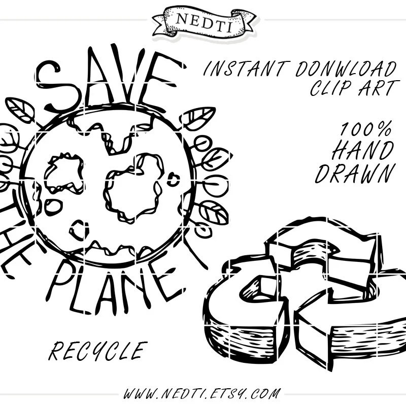 35 Hand Drawn Clipart Elements Lineart PNG Recycle Reduce