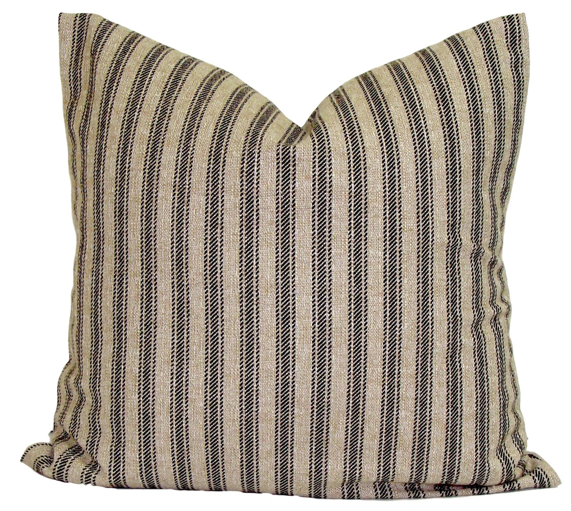 Black Ticking Pillow BLACK Tan Throw Pillow Pillow Cover