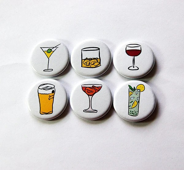 kitchen magnets rugs ikea fridge etsy button drink alcohol stocking stuffer wine beer cocktail 5868