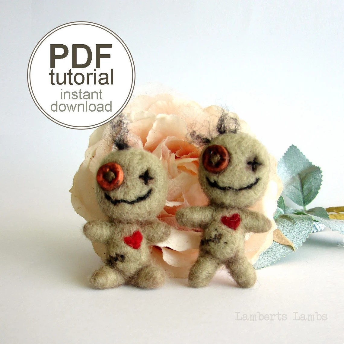 PDF Needle felting tutorial Voodoo Doll Halloween Felt image 0