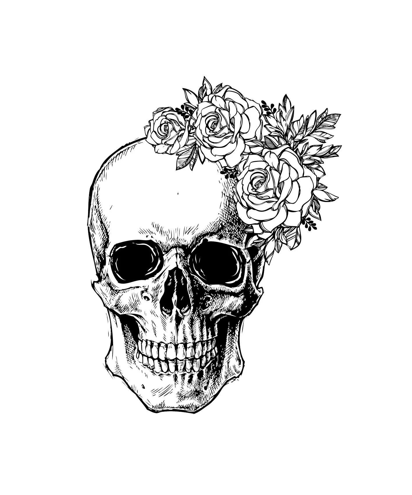 Skull svg file Flower Skull svg Skull cut file Floral