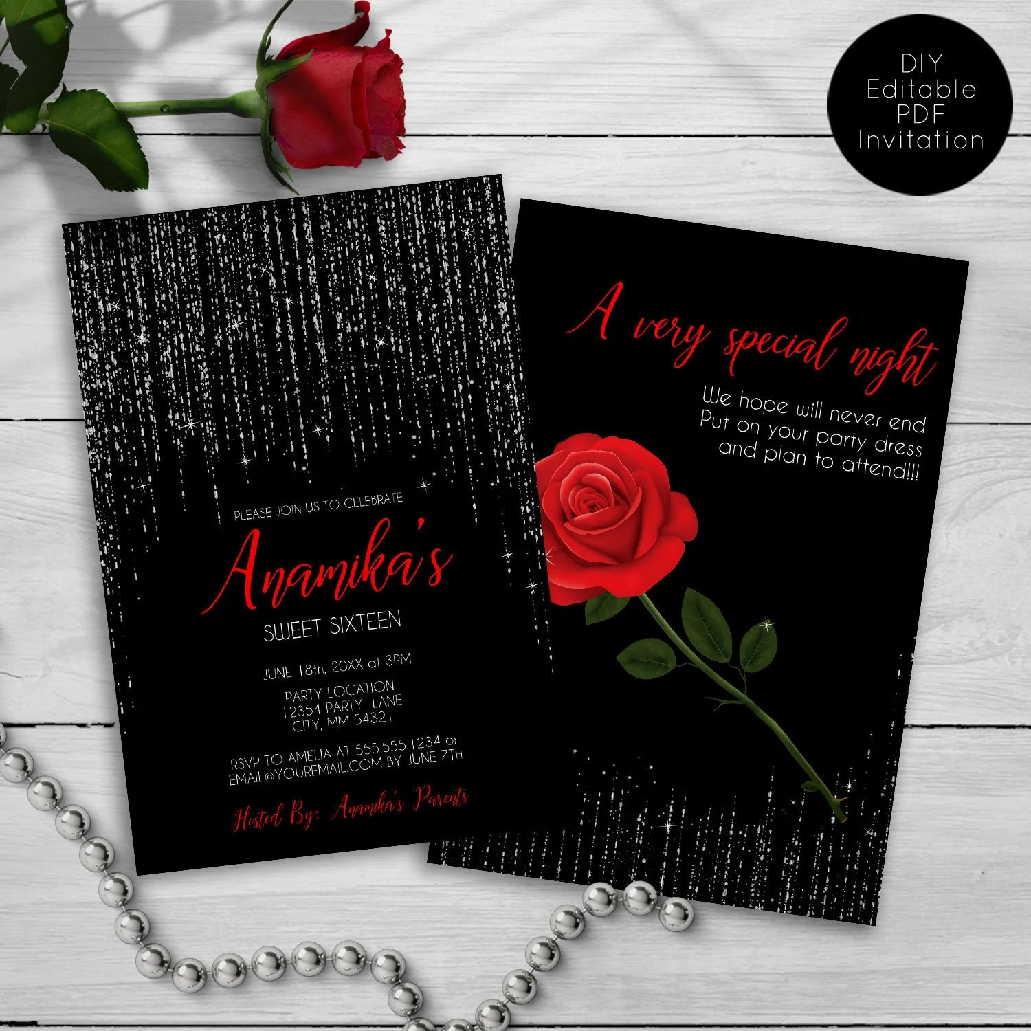 sweet sixteen party invitation red