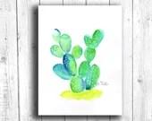 Cactus Watercolor Digital Download, Printable Cactus Watercolor, Digital 8x10 Art Printable, Printable Cactus Art, Cactus Digital Art