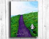 Girl Running Painting Digital download, Printable original art, Digital 8x10 art printable
