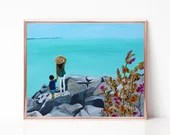 Coastal Painting, Digital download, Printable original art, Digital 8x10 art printable, Beach Art, Mother Son, Motherhood, Ocean Art