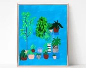 Potted Plants Painting Digital download, Printable original art, Digital 8x10 art printable