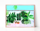 Tropical Courtyard Painting Digital download, Printable original art, Digital 8x10 art printable