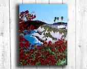 Coastal Flower painting, Digital download, Printable original art, Digital 8x10 art printable