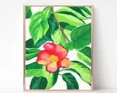 Red Hibiscus Painting, Di...