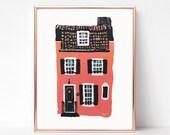 Building Print, Pink House Painting, Digital download, Printable original art, Digital 8x10 art printable, Charleston SC