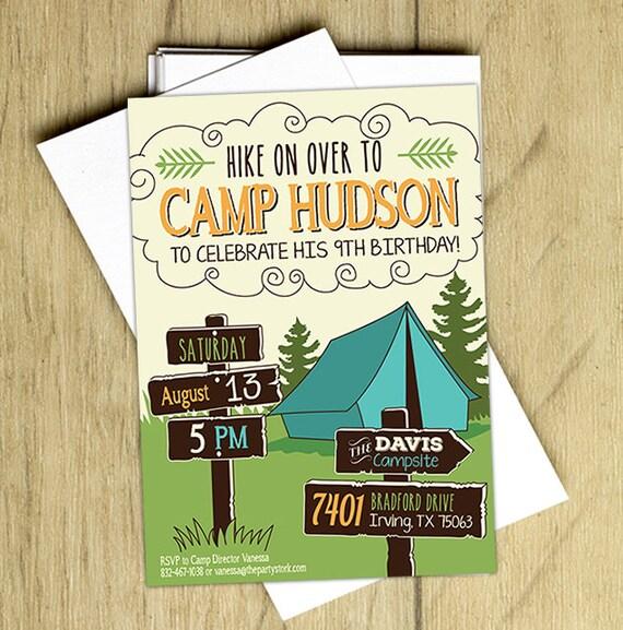 camping birthday invitation camping