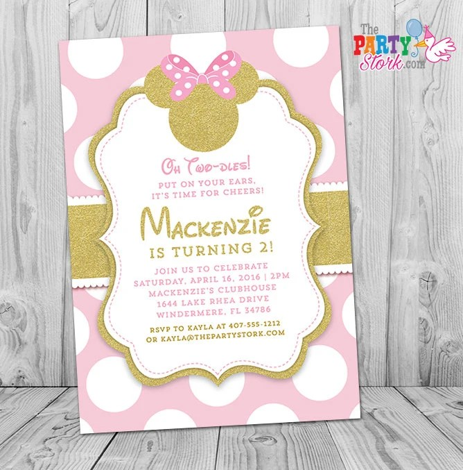 minnie mouse invitation pink and gold
