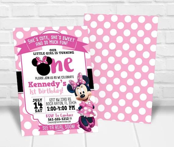 minnie first birthday invitation minnie